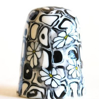 Black White Daisy Thimble Handmade Polymer Clay