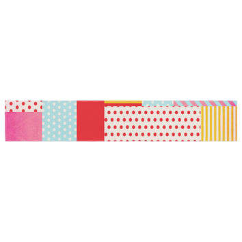 """Louise Machado """"Geometric Pop"""" Red Abstract Table Runner"""