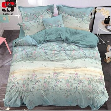 Sookie Peach Skin Bedding Set Flower Print Bed Linen king queen size Super Soft and Warm Garden Style Decoration for Bedroom