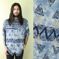 Vintage - 90s - Blue - Abstract - Geometric Triangle - Tribal Print - Button Up - Collar - Mens - Short Sleeve Shirt - Sea Punk