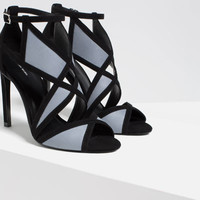CONTRAST WRAPAROUND HIGH HEEL SANDALS
