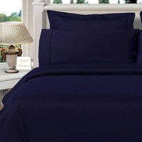 Navy Twin XL Combed cotton Solid 3Pieces Alternative Comforter set