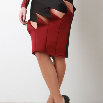 Clawed Twisted Front Midi Skirt