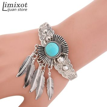 Blue Stone Leaf Open Cuff Bangle Charm Bracelet Indian Native American Jewelry