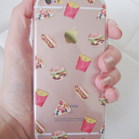 iPhone 7 case junk food pizza french fries hamburger cute funny clear case foodi