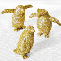 READY TO SHIP Penguins Gold Home Decor Metallic Glitter for Spring Wedding Tablescapes or Repurposed Home Decoration