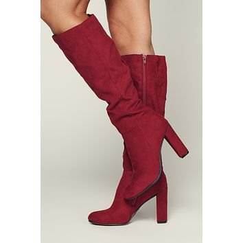 Sublime Faux Suede Boots (Crimson)