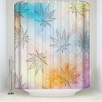 Cannabis Leaves Shower Curtains Waterproof and Mildew Resistant