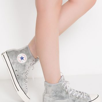 Converse Soft Faux Furry Fabric Lining High Top Lace Up Sneaker in Wolf Grey