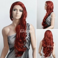 Wigiss Stunning Beautiful Long Curly Wave Wig Lace Front Wigs for Women Full Wigs Brownish Red #350