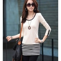 Long Sleeve Women Autumn New Style Korean Style Fashion Splicing Scoop Beige Cotton Dress M/L @WH0419be $11.72 only in eFexcity.com.
