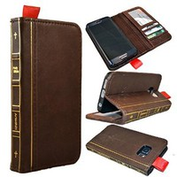 Samsung Galaxy S6 Edge Case -- Artech 21 Vintage Holy Bible Series Premium Full Grain Italian Leather Flip Case For Samsung Galaxy S6 Edge Only (Fits for Curved Screen ,Not For S6 ) -- Wallet Style Book , Book Wallet Function , Credit Cards Slots ,Stand Fe