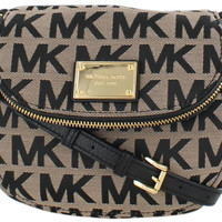 Michael Kors Jet Set Sig Print Flap Crossbody Bag Purse - One Size / BG/Black/Black