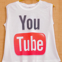 Youtube Logo Social Media Pop Indie Punk Tattoo Vintage Lady Women T shirt Muscle Crop Tank Top Size S M L