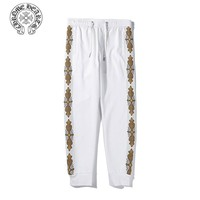 Chrome Hearts classic casual woven bandwidth loose trousers White
