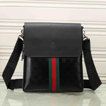 Gucci Trending Women Men Casual Red Blue Stripe Letter Print Leather Crossbody Satchel Shoulder Bag Briefcase 3-Color Black I-KSPJ-BBDL
