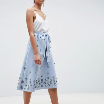 ASOS DESIGN embellished bow front scuba midi prom skirt at asos.com