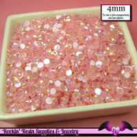 200 pcs 4mm AB JeLLY LIGHT ROSE Pink Deco Acrylic Faceted Flatback Rhinestones Great Quality