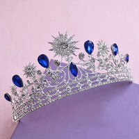 New Fashion Magnificent Blue Rhinestone Bridal Tiaras Noble Crystal Crown for Women Wedding Pageant Hair Jewelry Accessories