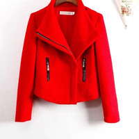 Long-Sleeve Zippered Woolen Jacket
