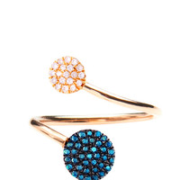 Diane Kordas 18K Rose Gold And Blue Diamonds Circle Wrap Ring by Diane Kordas - Moda Operandi