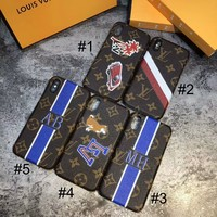 LV Louis Vuitton 2018 new men and women tide brand iPhone6/7/8 mobile phone shell F-OF-SJK