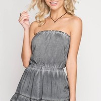 Grey Strapless Mineral Wash Romper