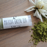 PRE ORDER Matcha Green Tea Lip Balm - Beeswax, Lip Butter, Matcha Powder, Winter, Autumn, Fall