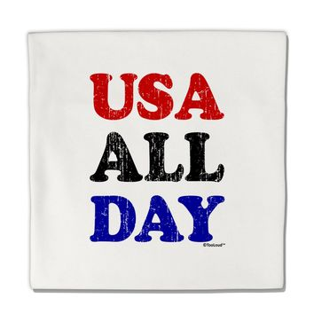 "USA All Day - Distressed Patriotic Design Micro Fleece 14""x14"" Pillow Sham by TooLoud"