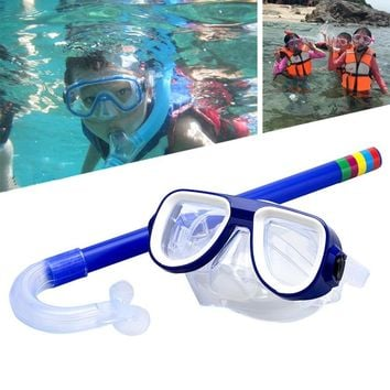 Safe Children Goggles Snorkeling Diving + Snorkeling Sets PVC High Quality 5 Colors Scuba Swimming Water Sports Glasses Set