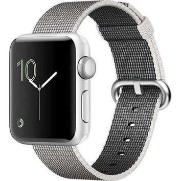 Kalete Apple Watch Series 2, 38mm Silver Aluminum Case with Pearl Woven Nylon Band