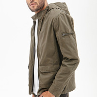 Hooded Twill Cargo Jacket