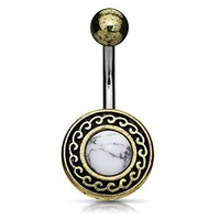 BodyJ4You Belly Ring Button Navel Antique Shield Tribal White Howlite Stone Piercing Jewelry