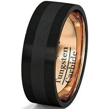 Men's Black Tungsten Wedding Band With Rose Gold Polished and Brushed Inlay Flat Edge - 8mm