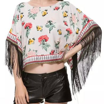 Streetstyle  Casual Round Neck Fringe Floral Printed Cropped Tunic