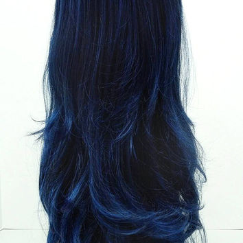 Long 26 inch Wavy Dark Midnight Blue Wig. Anime Cosplay Wig. Wavy with bangs. [14-102-Cara-MBlue]