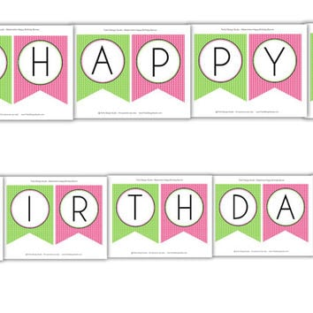 Watermelon Happy Birthday Banner: INSTANT DOWNLOAD
