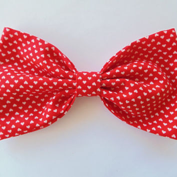 Hair Bow / Red hearts hair bow / Valentines day hair bow / Hearts hair bow / Kawaii hair bow / Kawaii hair clip / heart hair clip