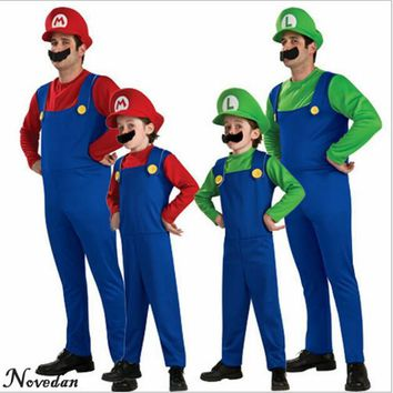 Halloween Cosplay Super Mario Bros Costume For Kids And Adults Funny Party Wear Cute Plumber Mario Luigi Set Children Clothes