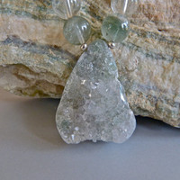 Green Drusy Agate Pendant with Phantom Scenic Quartz and Karen Hill Tribe Silver Necklace and Earrings