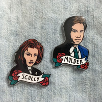 Scully and Mulder Handmade X Files Pins
