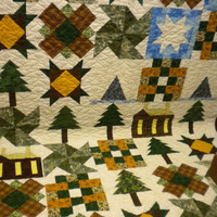 "Northwoods Quilt, winter quilt, log cabin quilt, log cabin throw, winter blanket, quilted throw blanket, country bedding, 53"" x 72"""
