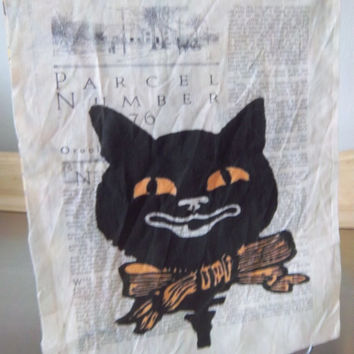 black cat fabric panel, quilt square, Halloween primitive, sew on patch, quilting fabric, Halloween fabric, cotton quilt block, home decor