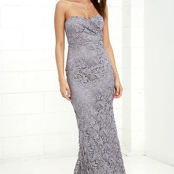 Inherent Beauty Grey Lace Strapless Maxi Dress