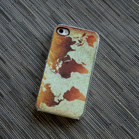 Classic World Map Custom 4 or 4s iPhone Case - unique iphone cases, gift, globe, cyber monday, gifts for him, stocking stuffers