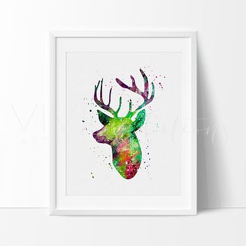 Deer Stag Head Watercolor Art Print