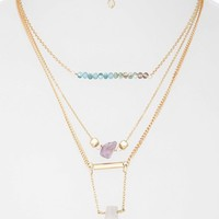 Women's Topshop Bead & Stone Multi-Row Necklace