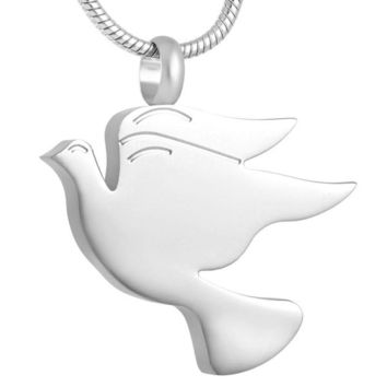 Engravable Name Date Peace Dove Pendant Necklace Opens Up