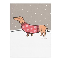 Christmas Dachshund in the Snow Fleece Blanket