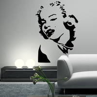 MARILYN MONROE Wall Decal Silhouette Face Head Mural Wall Vinyl Sticker Outline Decor